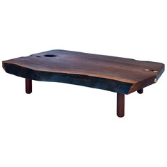 Beatrice Low Table, Slab Coffee Table in Claro Walnut with Brass Joinery