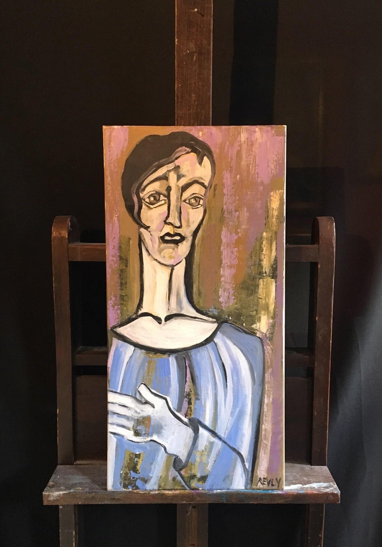 Elegant Large Portrait, Picasso Style, Original Oil Painting, Signed - Black Abstract Painting by Beatrice Werlie