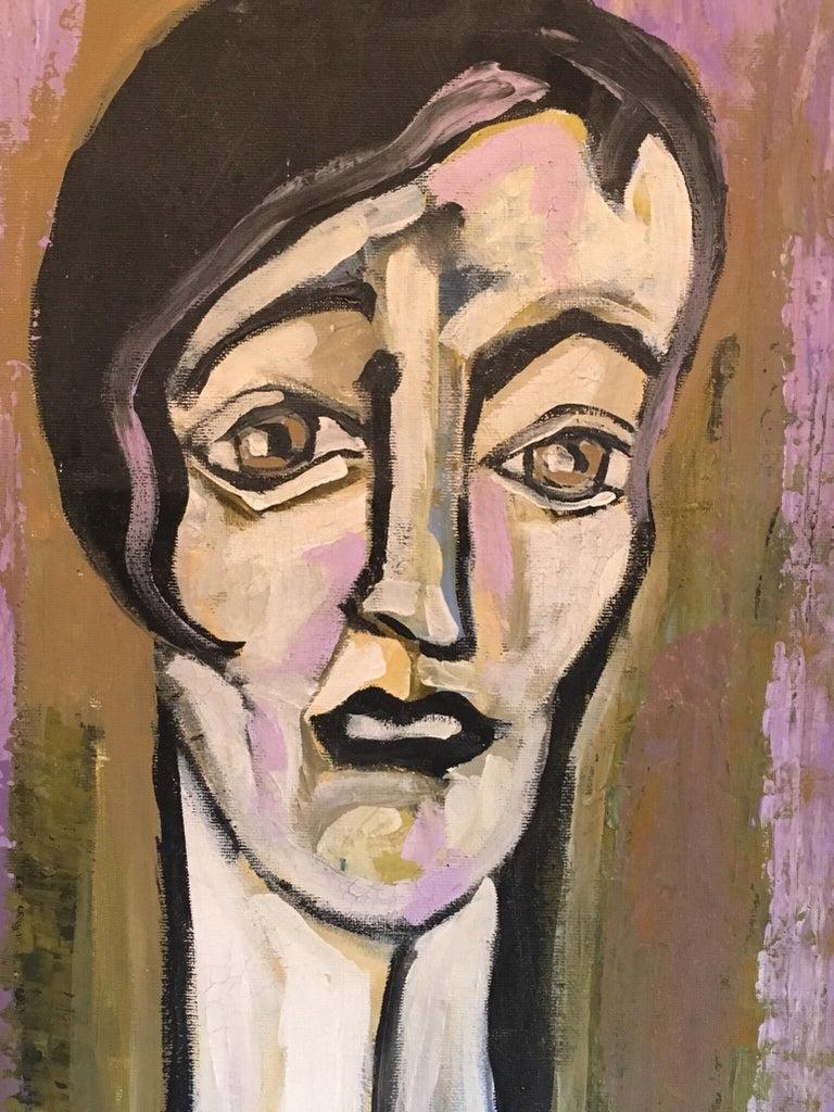 Elegant Large Portrait, Picasso Style, Original Oil Painting, Signed For Sale 1