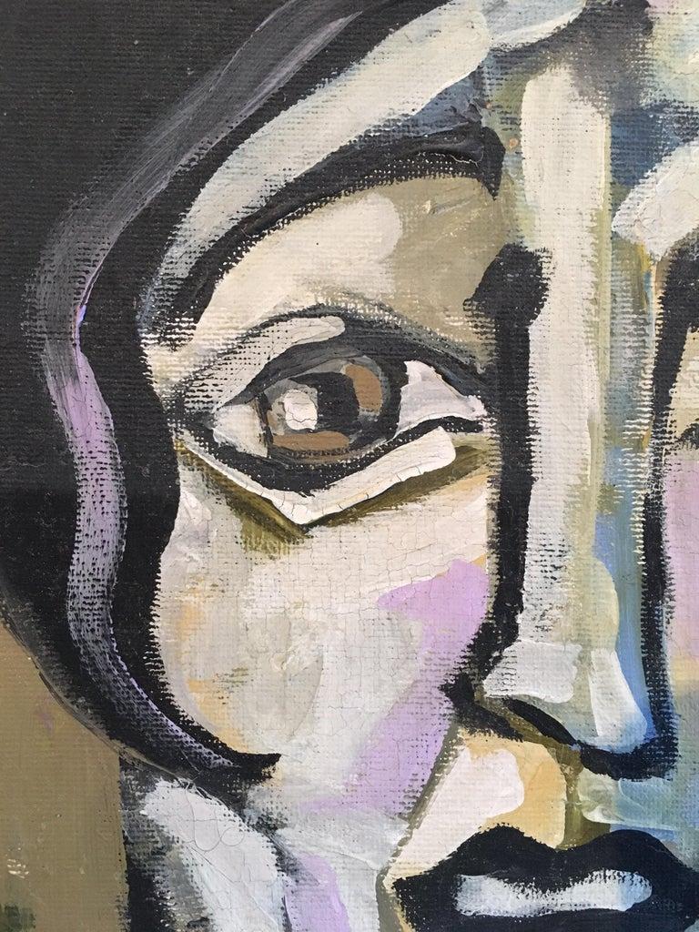 Elegant Large Portrait, Picasso Style, Original Oil Painting, Signed For Sale 2