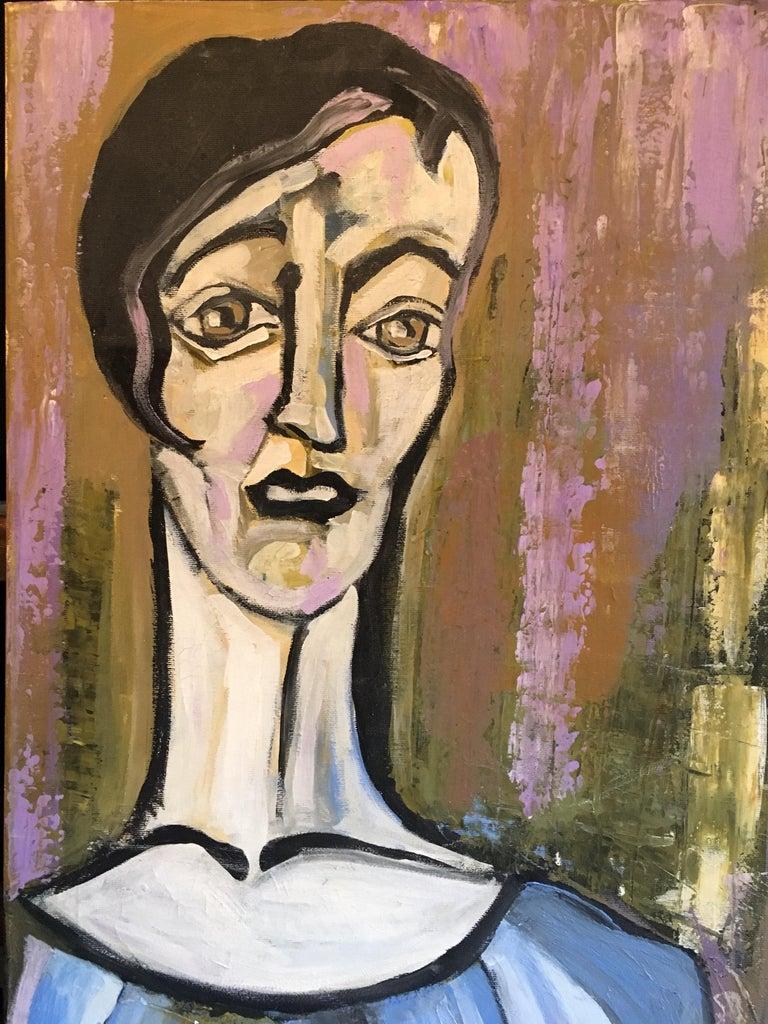 Elegant Large Portrait, Picasso Style, Original Oil Painting, Signed For Sale 3