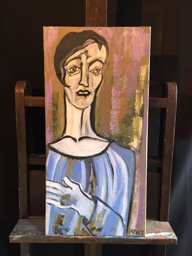 Elegant Large Portrait, Picasso Style, Original Oil Painting, Signed For Sale 4