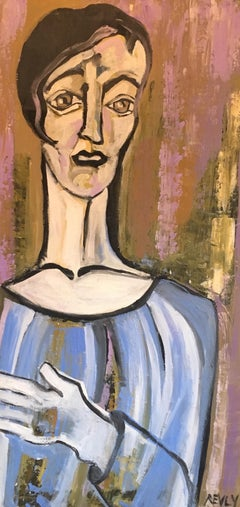 Elegant Large Portrait, Picasso Style, Original Oil Painting, Signed