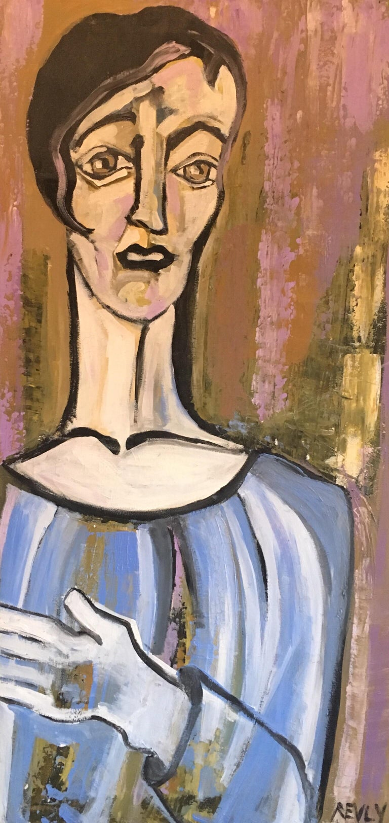 Beatrice Werlie Abstract Painting - Elegant Large Portrait, Picasso Style, Original Oil Painting, Signed