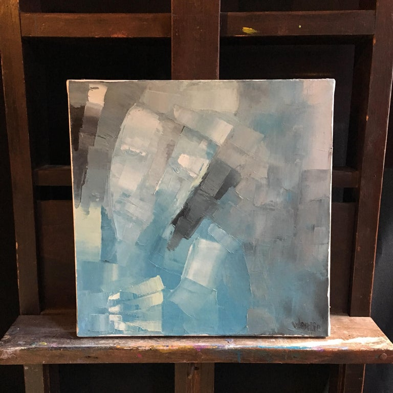 Square Abstract Cubist Style Portrai, Blue Colour Original Oil Painting, Signed - Gray Abstract Painting by Beatrice Werlie