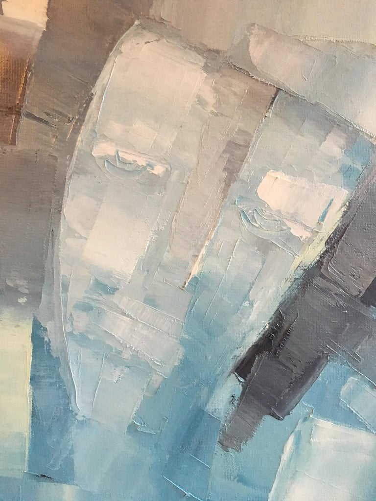 Square Abstract Cubist Style Portrai, Blue Colour Original Oil Painting, Signed For Sale 1