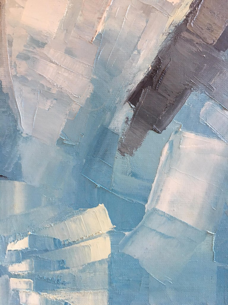 Square Abstract Cubist Style Portrai, Blue Colour Original Oil Painting, Signed For Sale 2