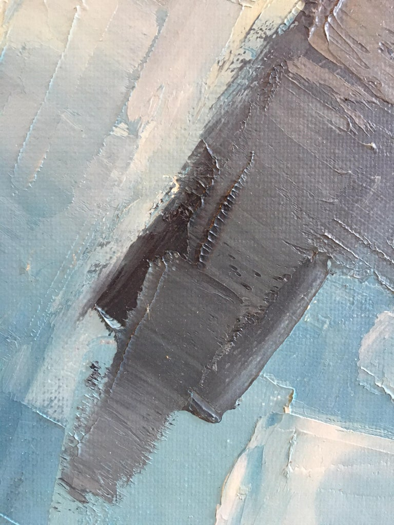 Square Abstract Cubist Style Portrai, Blue Colour Original Oil Painting, Signed For Sale 3