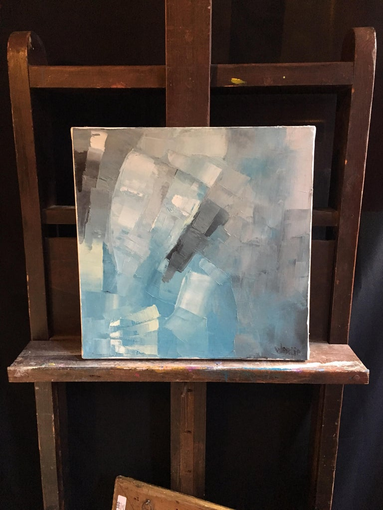 Square Abstract Cubist Style Portrai, Blue Colour Original Oil Painting, Signed For Sale 4
