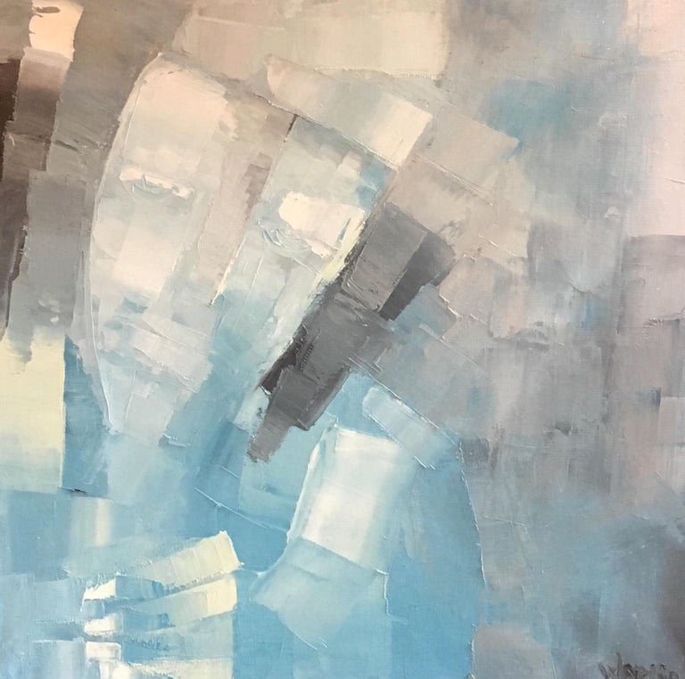 Beatrice Werlie Abstract Painting - Square Abstract Cubist Style Portrai, Blue Colour Original Oil Painting, Signed