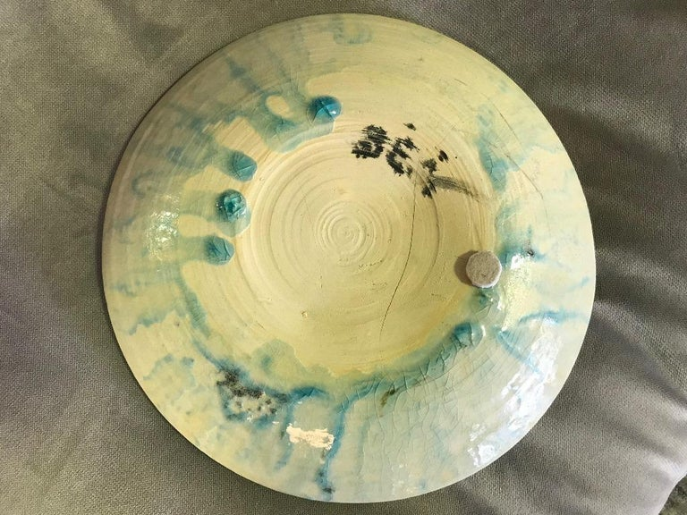 Hand-Crafted Beatrice Wood Early Large Signed Mid-Century Modern Low Bowl Plate, circa 1940s For Sale