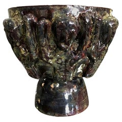 Beatrice Wood Luster Glaze Midcentury Pottery Ceramic Chalice Cup with Figures