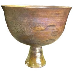 Beatrice Wood Signed Large Iridescent Gold Luster Glaze Earthenware Chalice
