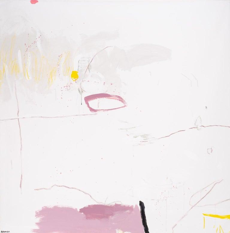 Bird Whisper & Pink - Gray Abstract Painting by Beatriz Simón