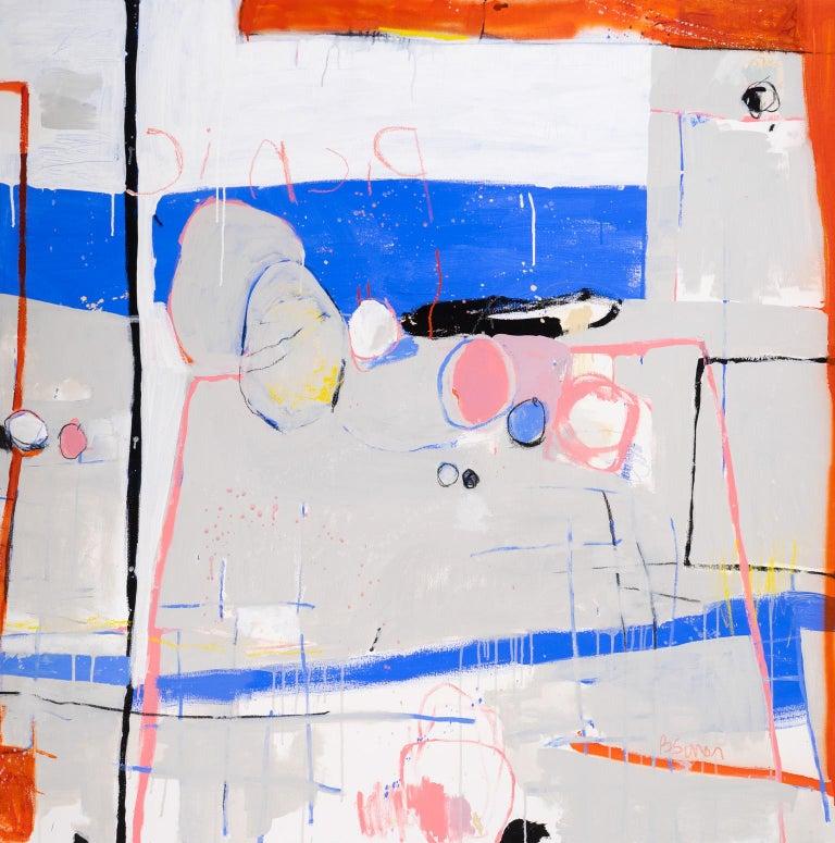 Picnic & Blue - Gray Abstract Painting by Beatriz Simón