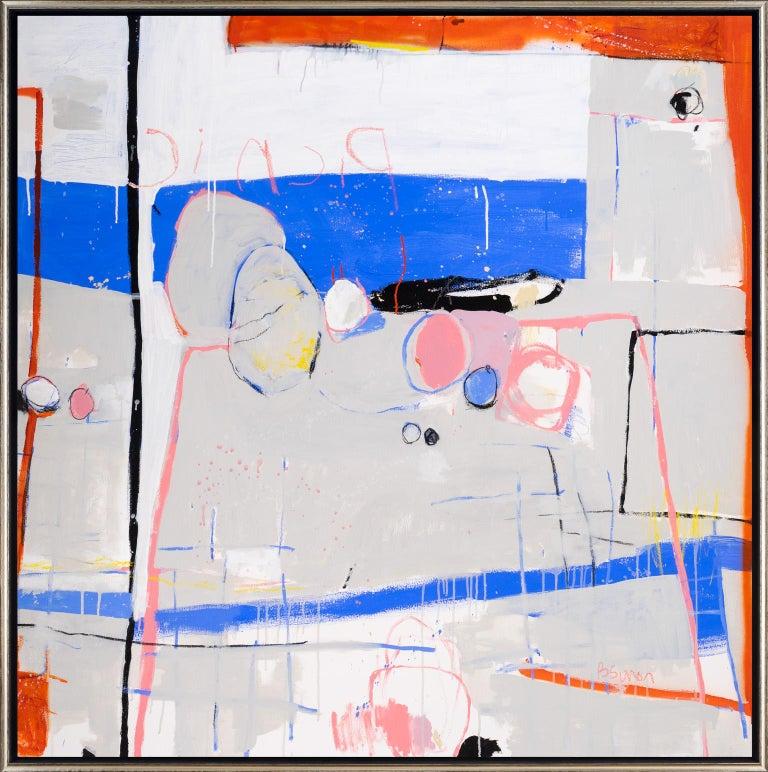 Beatriz Simón Abstract Painting - Picnic & Blue