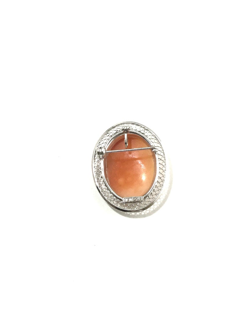 Beau Sterling Silver Cameo Brooch Pin/Pendant 1