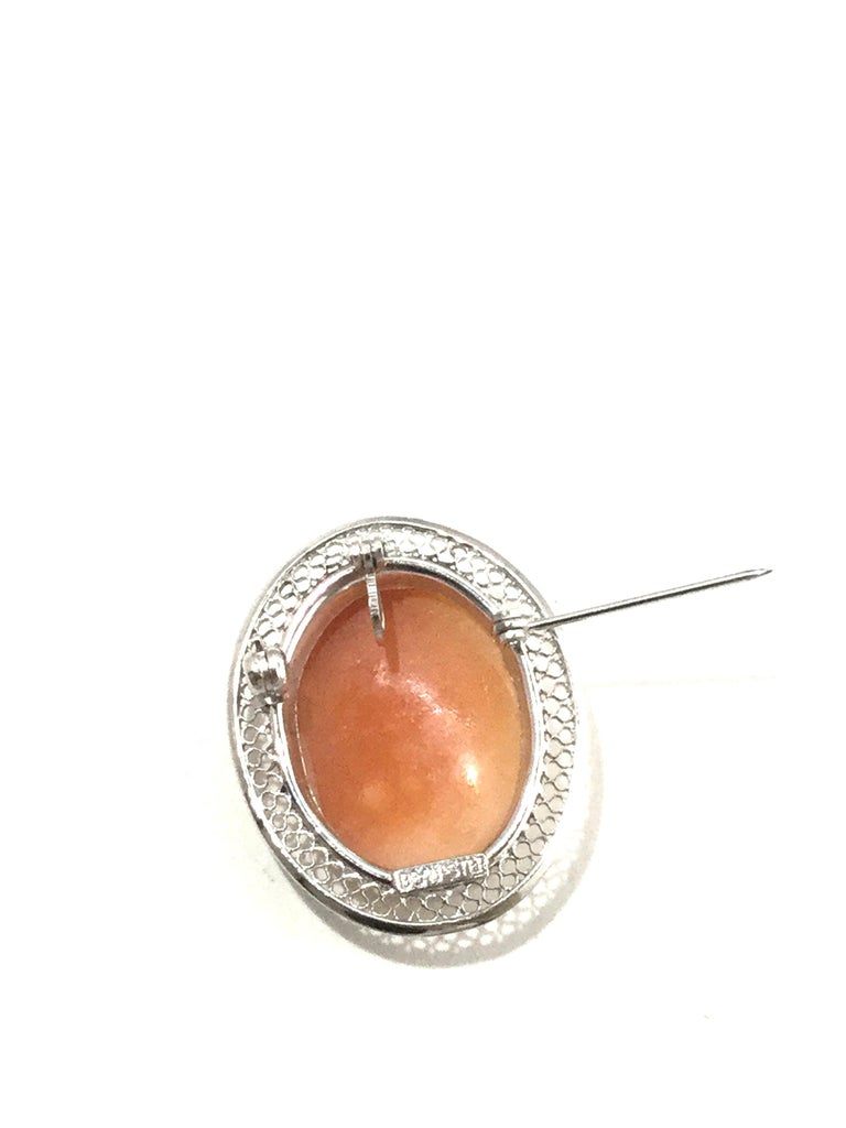 Beau Sterling Silver Cameo Brooch Pin/Pendant 3