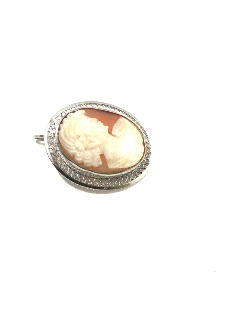 Beau Sterling Silver Cameo Brooch Pin/Pendant 5