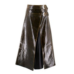 Beaufille Pistol Satin-trimmed Coated Wrap Midi Skirt US 6
