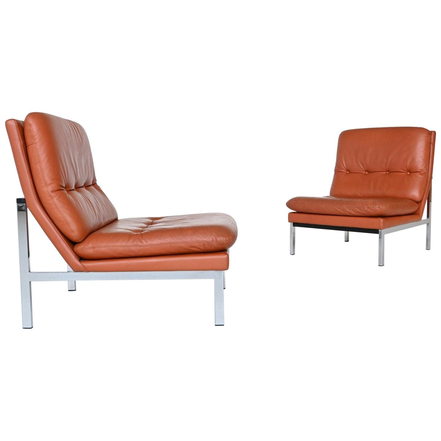 Beaufort Style Cognac Leather Pair of Lounge Chairs, Belgium, 1960