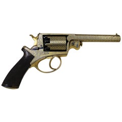 Beaumont-Adams Revolver with Gold Damascene Embellishment and Original Case
