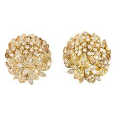 Beautiful 14 Karat Flower with Diamonds Clip-On Earrings
