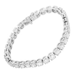 Beautiful 14 Karat White Gold and 11.69 Carat Diamond Tennis Bracelet