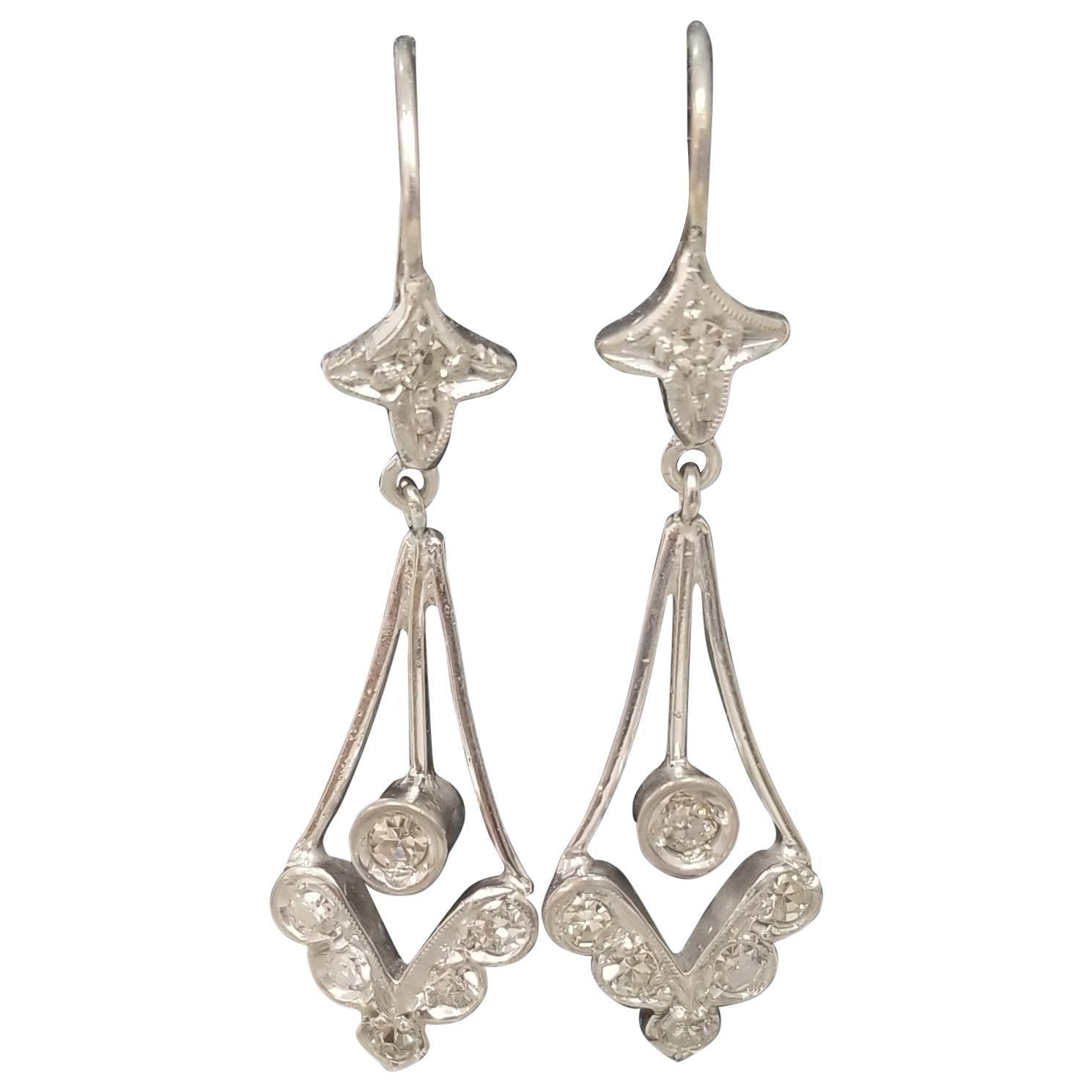 "Beautiful 14 Karat White Gold Diamond ""Art Deco Style"" Earrings"