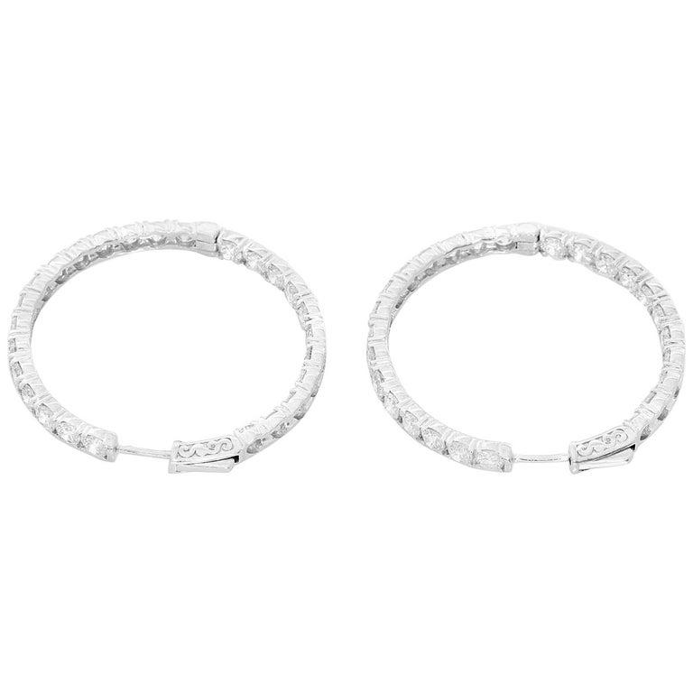 Beautiful 14 Karat White Gold Inside Out Diamond Hoop Earrings
