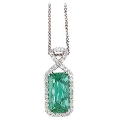 Beautiful 14 Karat White Gold Tourmaline and Diamond Necklace