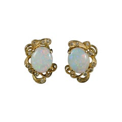 Beautiful 14ct Gold Natural Opal and Diamond Clip On Earrings