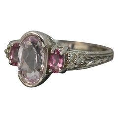 Beautiful 14 Carat White Gold Kunzite Tourmaine and Diamond Ring