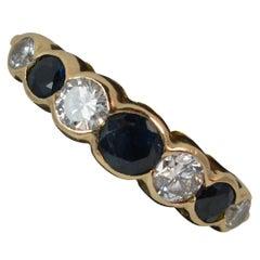 Beautiful 18 Carat Bubble Set Sapphire and Vs Diamond Stack Ring