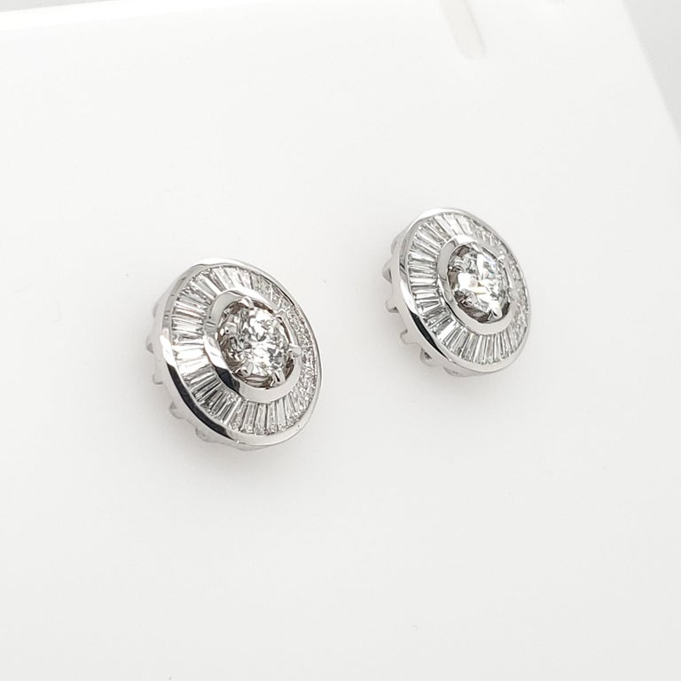 Contemporary Beautiful 18 K White Gold Solitaire Diamonds Studs with Baguette Jackets 2.27 ct For Sale