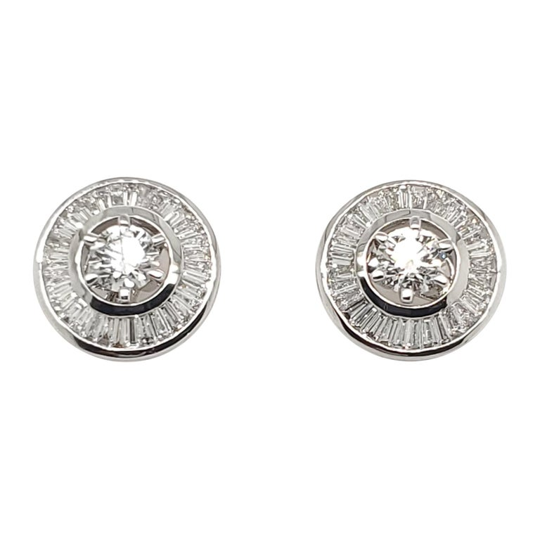 Beautiful 18 K White Gold Solitaire Diamonds Studs with Baguette Jackets 2.27 ct For Sale