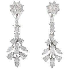 Beautiful 18 Karat and 14 Karat Pear Marquise and Round Flower Drop Earrings