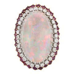 Beautiful 18 Karat Opal Ruby and Diamond Ring