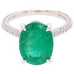 Beautiful 18 Karat White Gold Emerald and Diamond Ring