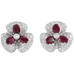 Beautiful 18 Karat White Gold Flower with Ruby and Diamonds Earrings