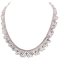 Beautiful 18 Karat White Gold Lace and Diamond Necklace