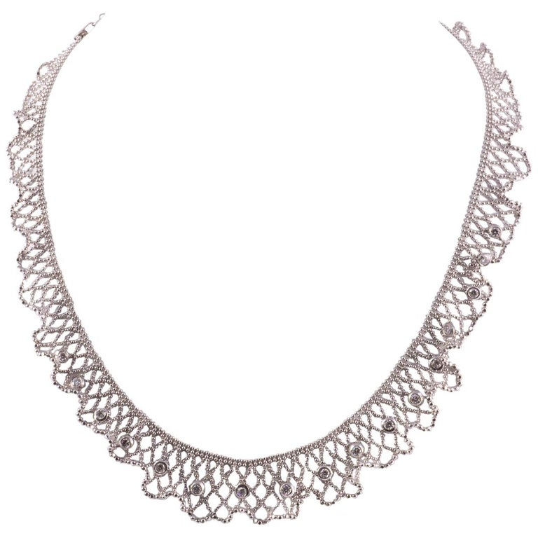Beautiful 18 Karat White Gold Lace and Diamond Necklace For Sale