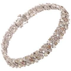 Beautiful 18 Karat White Gold with Fancy Yellow Diamond Flower Bracelet