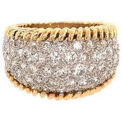 Beautiful 18 Karat Yellow and White Gold Diamond Bombe Style Ring
