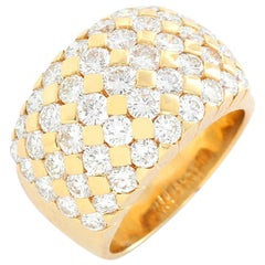 Beautiful 18 Karat Yellow Gold and Diamond Dome Ring