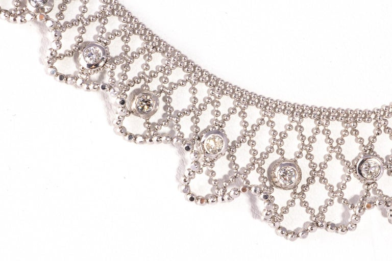 White Gold Delicate Lace and Diamond Necklace -- 19