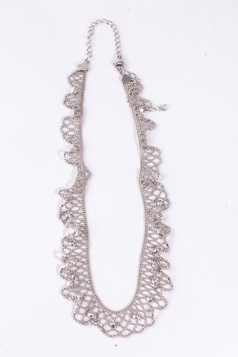 Napoleon III Beautiful 18 Karat White Gold Lace and Diamond Necklace For Sale