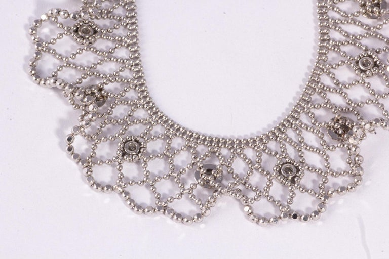Old European Cut Beautiful 18 Karat White Gold Lace and Diamond Necklace For Sale