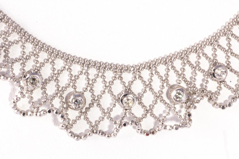 Beautiful 18 Karat White Gold Lace and Diamond Necklace In Excellent Condition For Sale In New Orleans, LA