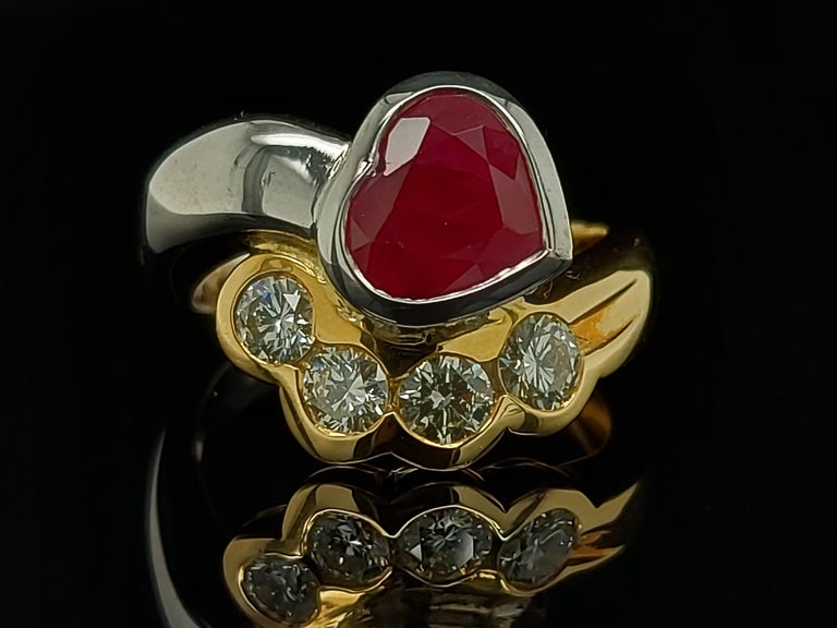 Beautiful 18kt Yellow and White Gold Ring with 4 Diamonds and Heart Shaped Ruby For Sale 8